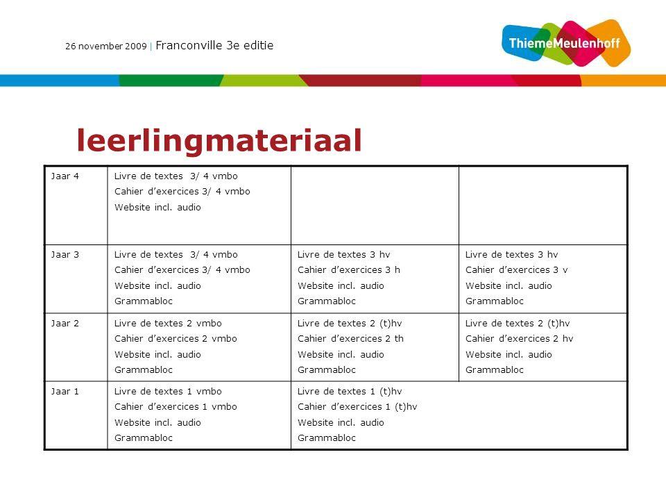 26 november 2009 | Franconville 3e editie leerlingmateriaal Jaar 4 Livre de textes 3/ 4 vmbo Cahier d'exercices 3/ 4 vmbo Website incl.