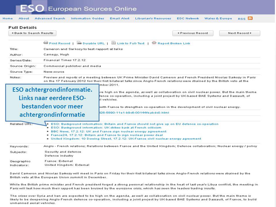 ESO achtergrondinformatie. Links naar eerdere ESO- bestanden voor meer achtergrondinformatie