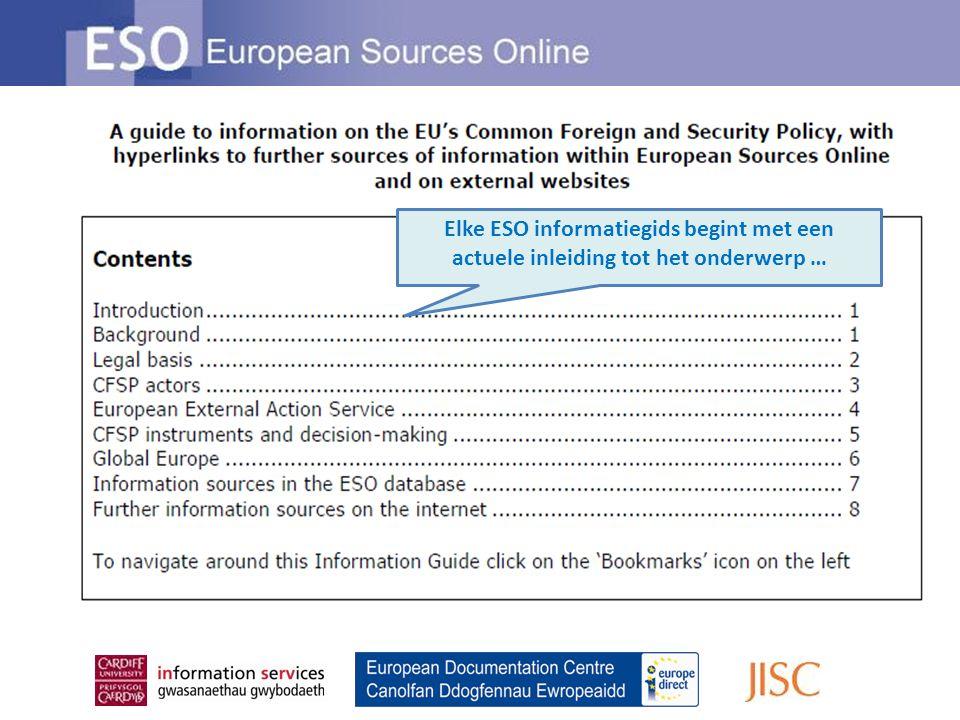 Elke ESO informatiegids begint met een actuele inleiding tot het onderwerp …