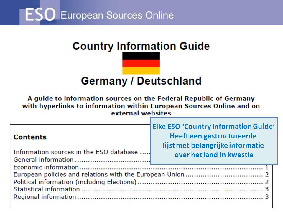Elke ESO 'Country Information Guide' Heeft een gestructureerde lijst met belangrijke informatie over het land in kwestie