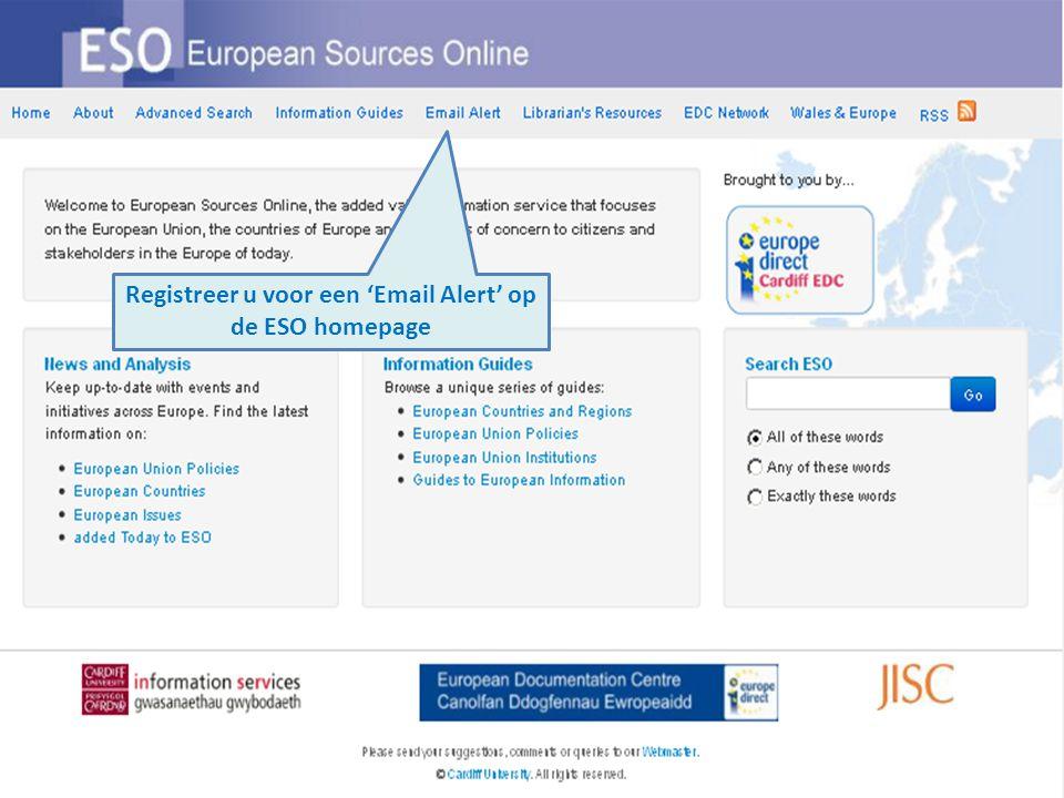 Registreer u voor een 'Email Alert' op de ESO homepage