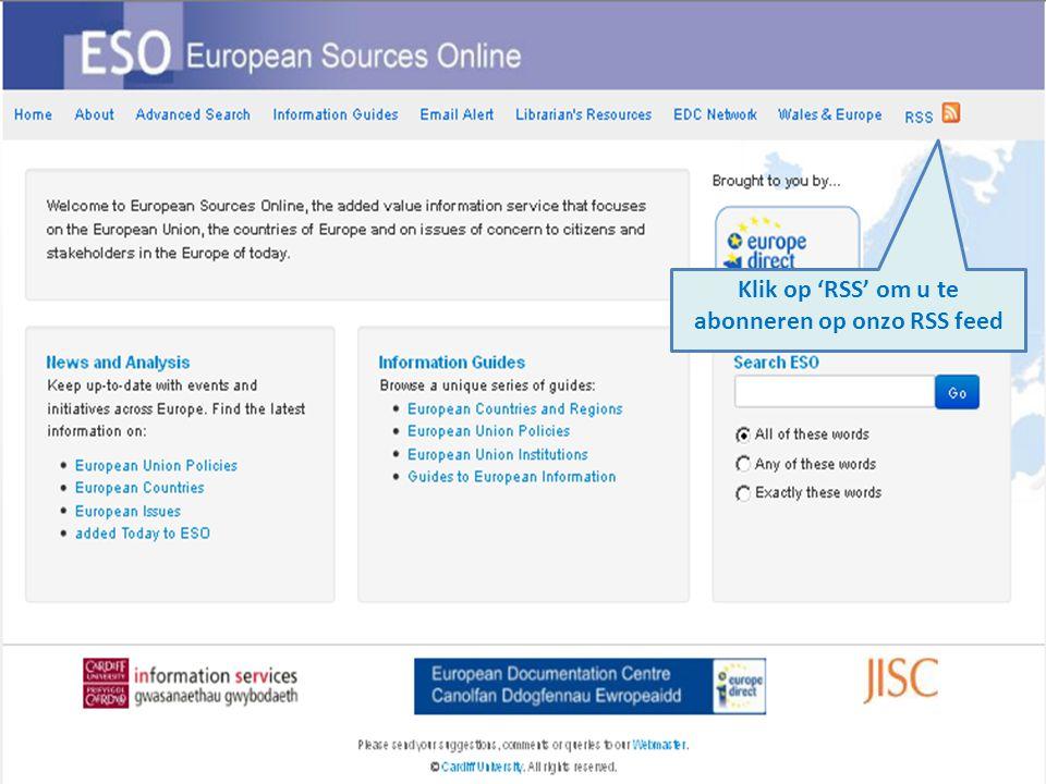 Klik op 'RSS' om u te abonneren op onzo RSS feed