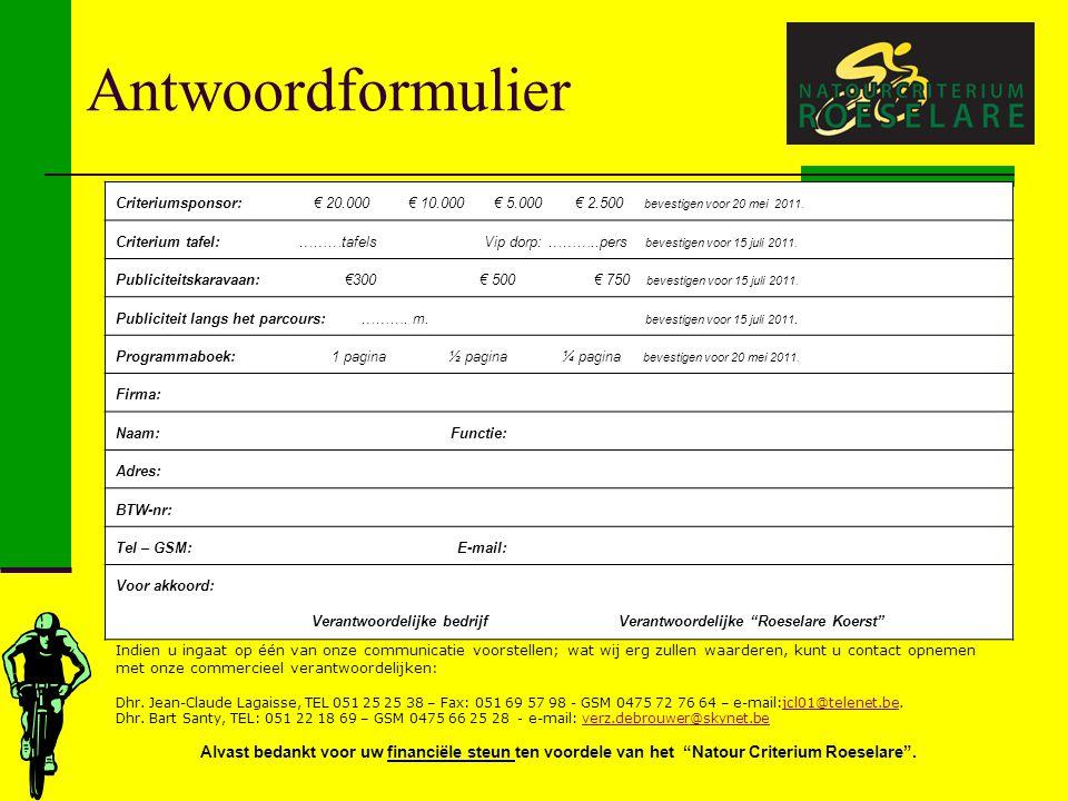 Antwoordformulier Criteriumsponsor: € 20.000 € 10.000 € 5.000 € 2.500 bevestigen voor 20 mei 2011.