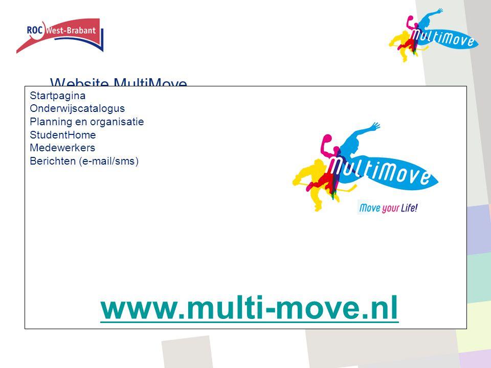 Website MultiMove Startpagina Onderwijscatalogus Planning en organisatie StudentHome Medewerkers Berichten (e-mail/sms) www.multi-move.nl