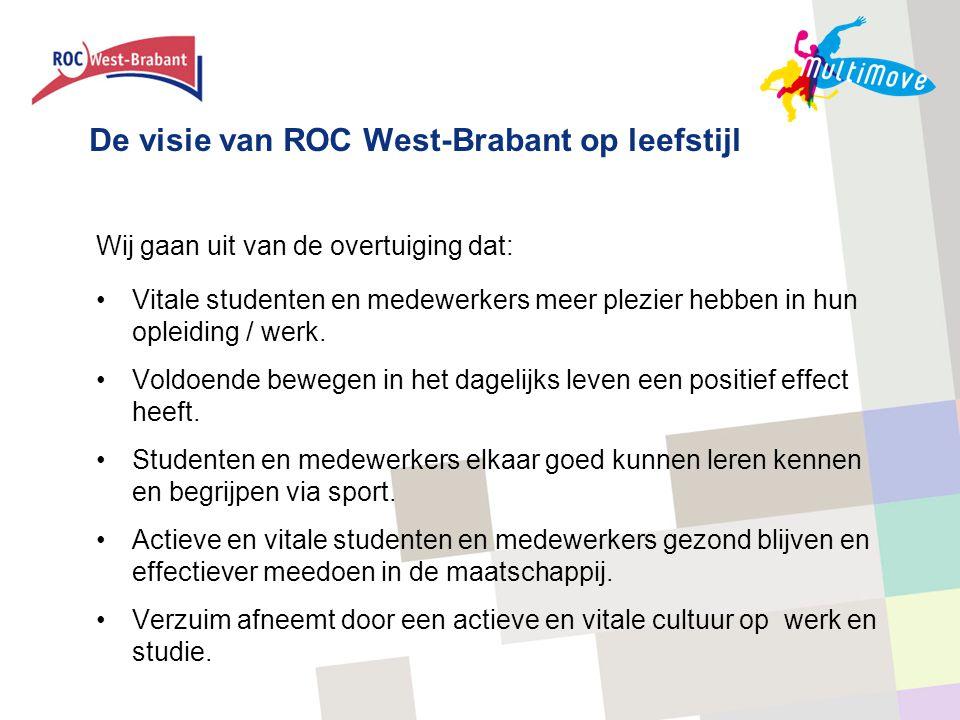 De visie van ROC West-Brabant op leefstijl Wij gaan uit van de overtuiging dat: •Vitale studenten en medewerkers meer plezier hebben in hun opleiding