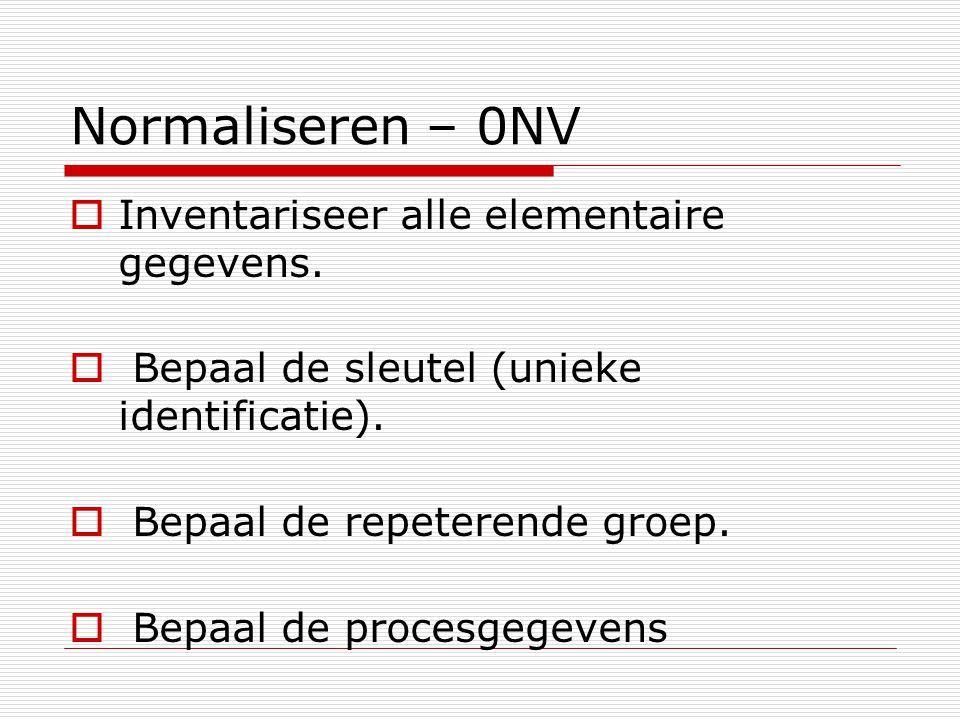 Normaliseren – 0NV  Inventariseer alle elementaire gegevens.