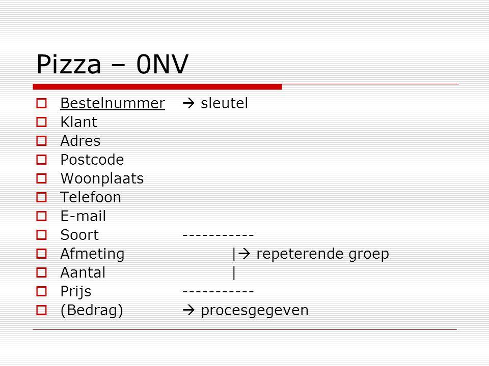 Pizza – 0NV  Bestelnummer  sleutel  Klant  Adres  Postcode  Woonplaats  Telefoon  E-mail  Soort-----------  Afmeting|  repeterende groep  Aantal|  Prijs-----------  (Bedrag)  procesgegeven