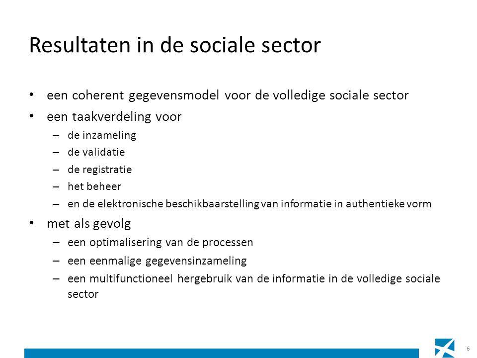 Resultaten in de sociale sector • een coherent gegevensmodel voor de volledige sociale sector • een taakverdeling voor – de inzameling – de validatie – de registratie – het beheer – en de elektronische beschikbaarstelling van informatie in authentieke vorm • met als gevolg – een optimalisering van de processen – een eenmalige gegevensinzameling – een multifunctioneel hergebruik van de informatie in de volledige sociale sector 6