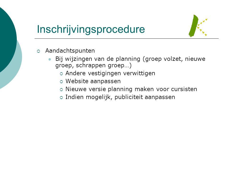 Inschrijvingsprocedure  Aandachtspunten  Bij wijzingen van de planning (groep volzet, nieuwe groep, schrappen groep…)  Andere vestigingen verwittig