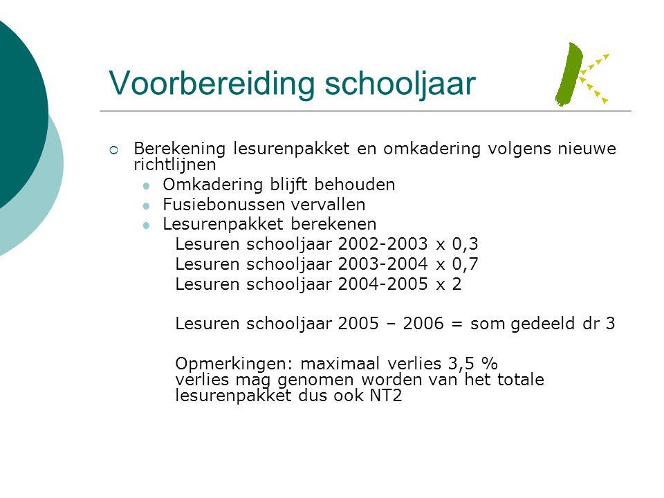 Voorbereiding schooljaar  Berekening lesurenpakket en omkadering volgens nieuwe richtlijnen  Omkadering blijft behouden  Fusiebonussen vervallen 
