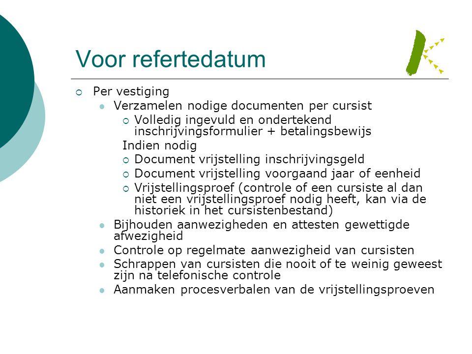 Voor refertedatum  Per vestiging  Verzamelen nodige documenten per cursist  Volledig ingevuld en ondertekend inschrijvingsformulier + betalingsbewi