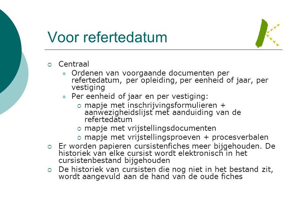 Voor refertedatum  Centraal  Ordenen van voorgaande documenten per refertedatum, per opleiding, per eenheid of jaar, per vestiging  Per eenheid of