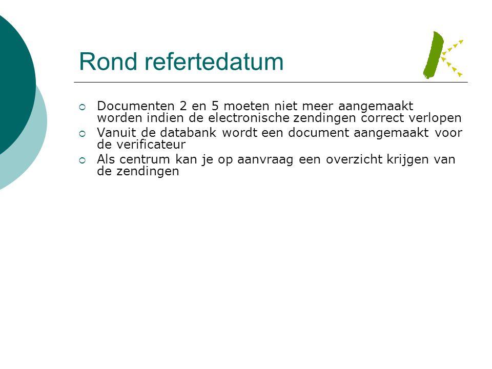 Rond refertedatum  Documenten 2 en 5 moeten niet meer aangemaakt worden indien de electronische zendingen correct verlopen  Vanuit de databank wordt