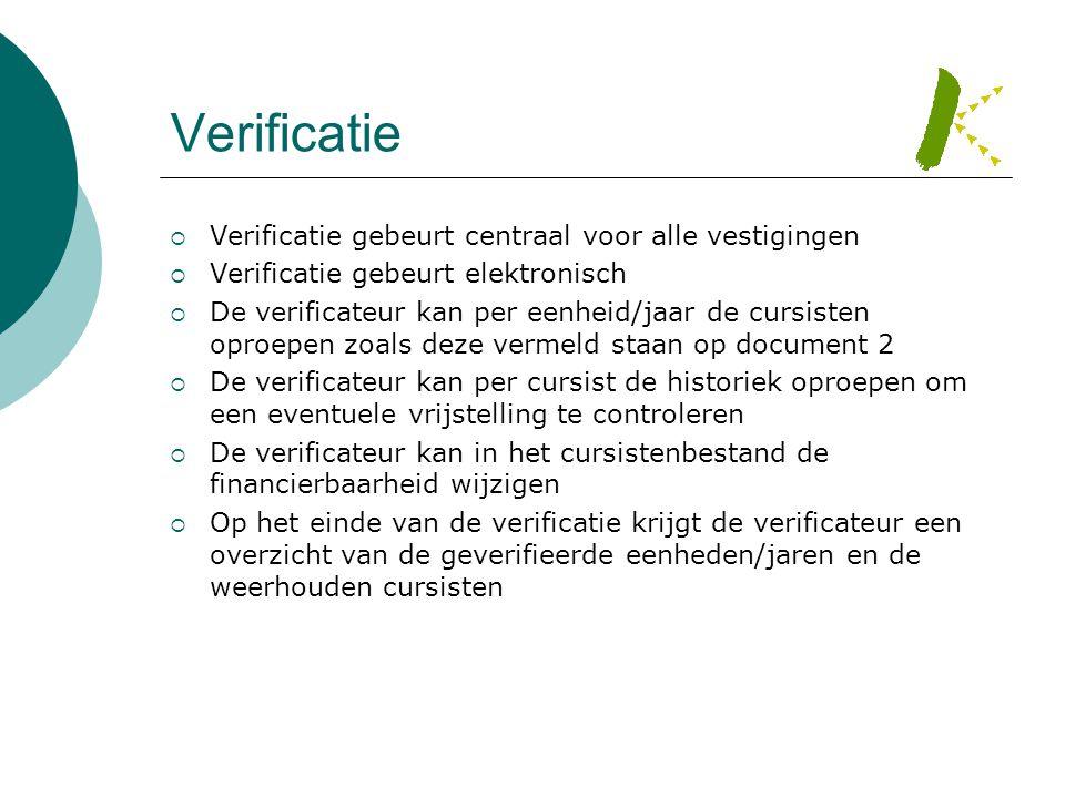 Verificatie  Verificatie gebeurt centraal voor alle vestigingen  Verificatie gebeurt elektronisch  De verificateur kan per eenheid/jaar de cursiste