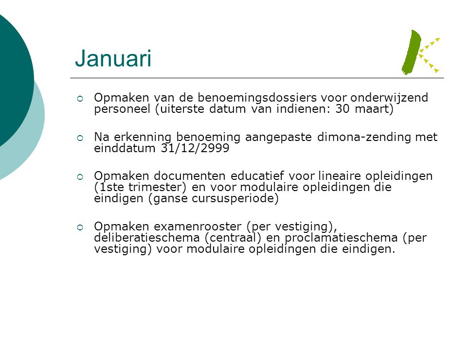 Januari  Opmaken van de benoemingsdossiers voor onderwijzend personeel (uiterste datum van indienen: 30 maart)  Na erkenning benoeming aangepaste di