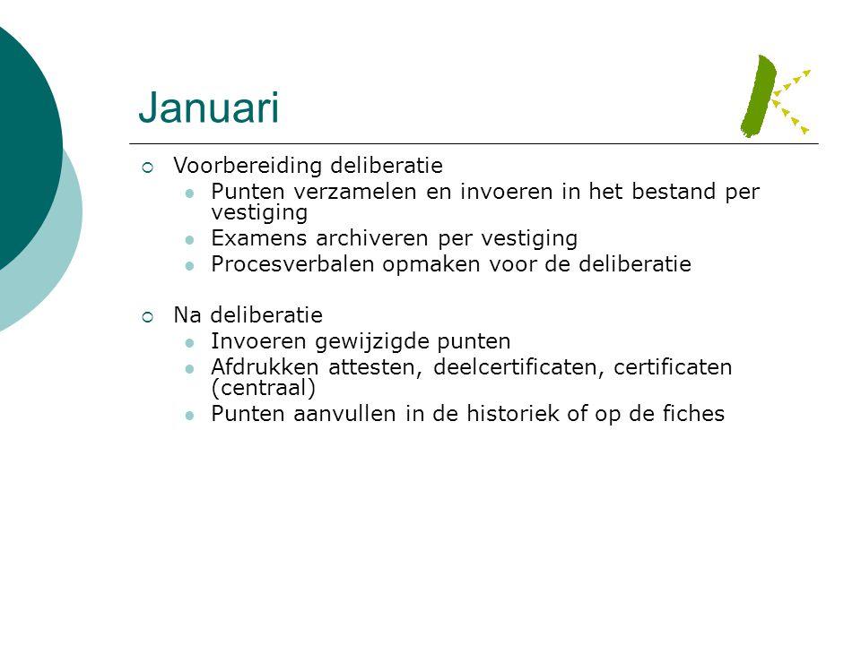 Januari  Voorbereiding deliberatie  Punten verzamelen en invoeren in het bestand per vestiging  Examens archiveren per vestiging  Procesverbalen o