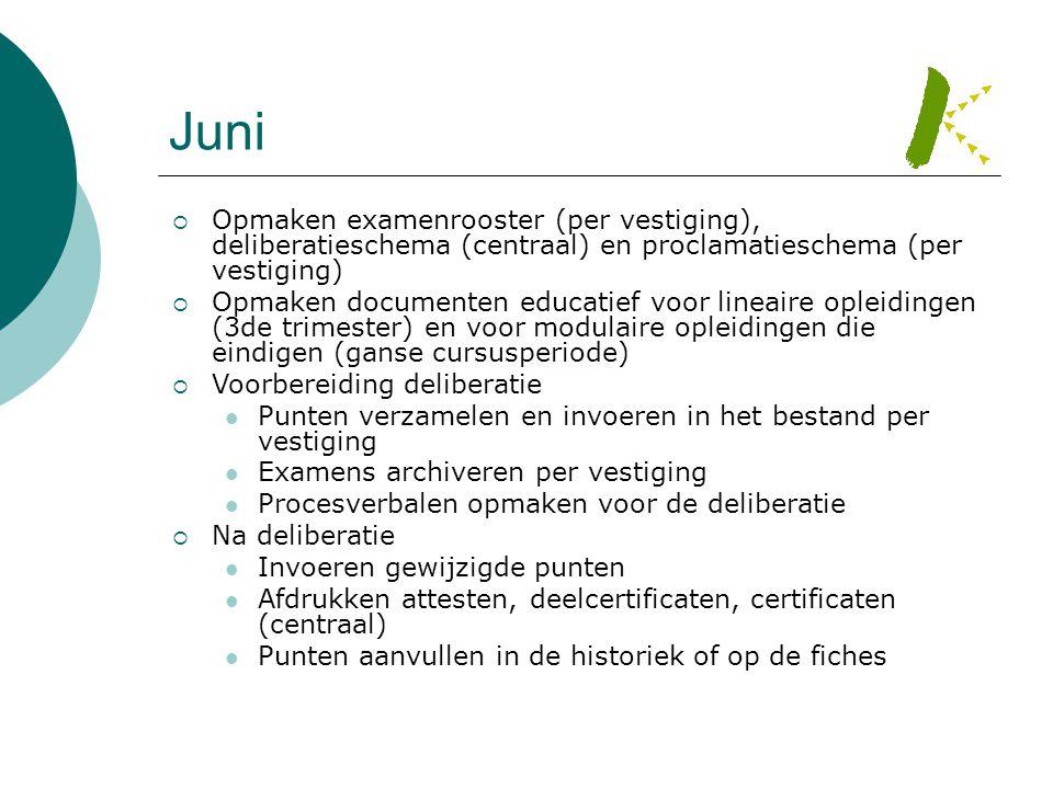 Juni  Opmaken examenrooster (per vestiging), deliberatieschema (centraal) en proclamatieschema (per vestiging)  Opmaken documenten educatief voor li