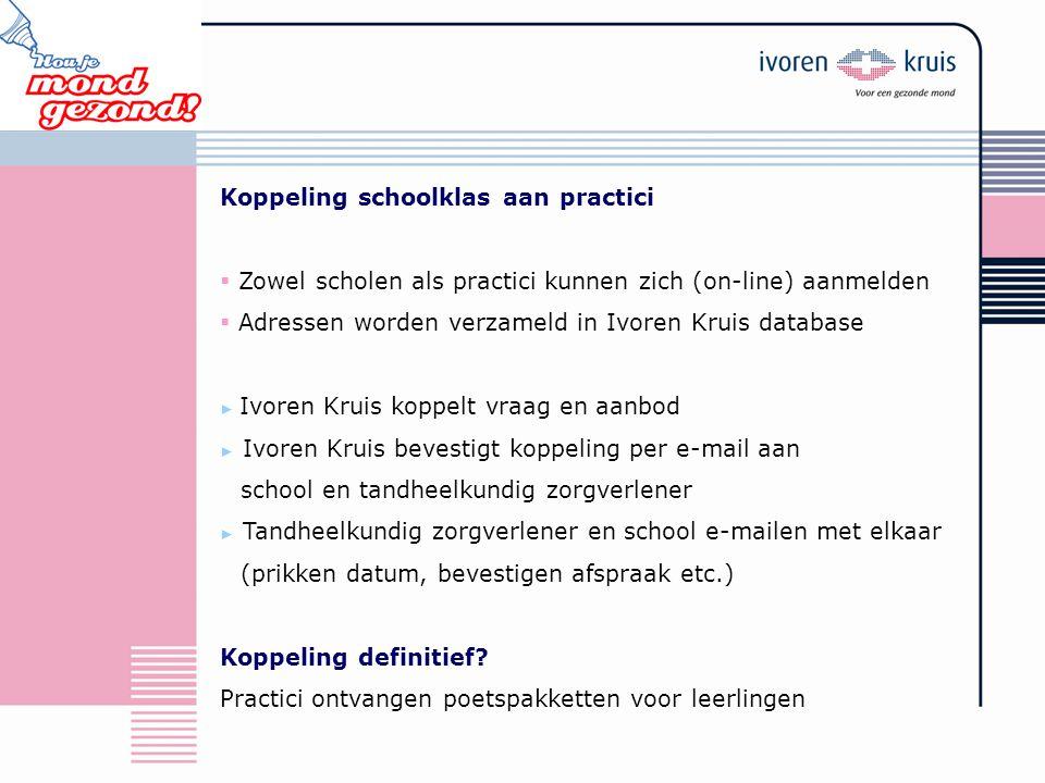 Koppeling schoolklas aan practici  Zowel scholen als practici kunnen zich (on-line) aanmelden  Adressen worden verzameld in Ivoren Kruis database ►