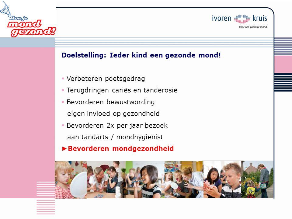 Doelstelling: Ieder kind een gezonde mond!  Verbeteren poetsgedrag  Terugdringen cariës en tanderosie  Bevorderen bewustwording eigen invloed op ge