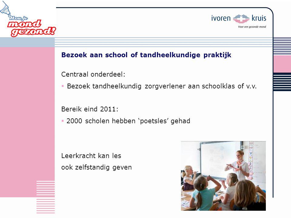 Bezoek aan school of tandheelkundige praktijk Centraal onderdeel:  Bezoek tandheelkundig zorgverlener aan schoolklas of v.v. Bereik eind 2011:  2000
