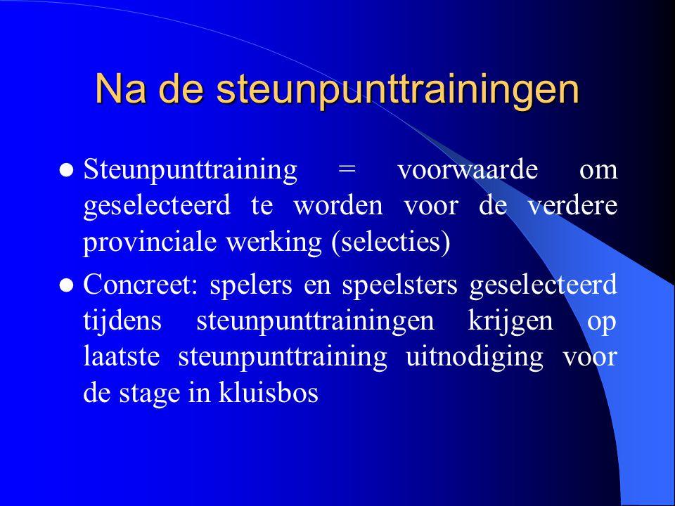 Na de steunpunttrainingen  Steunpunttraining = voorwaarde om geselecteerd te worden voor de verdere provinciale werking (selecties)  Concreet: spele
