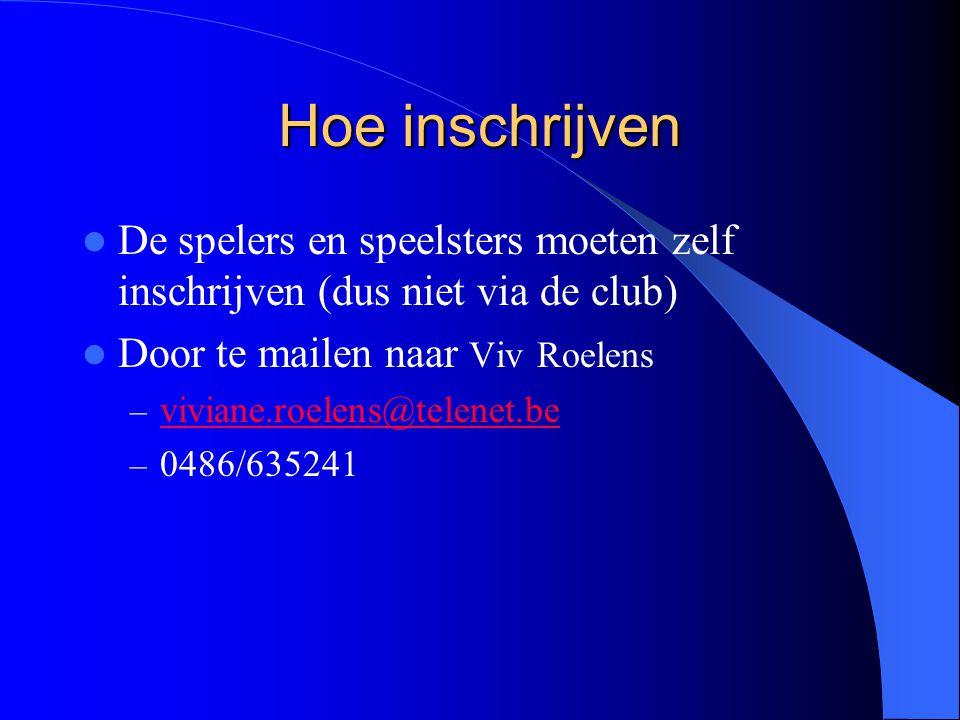 Hoe inschrijven  De spelers en speelsters moeten zelf inschrijven (dus niet via de club)  Door te mailen naar Viv Roelens – viviane.roelens@telenet.