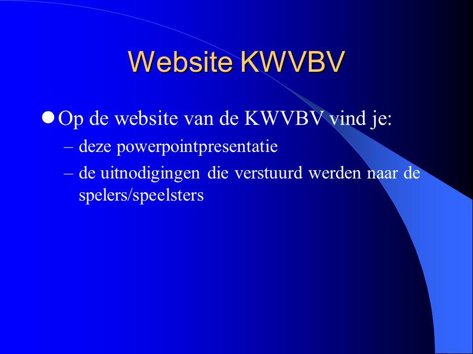 Website KWVBV  Op de website van de KWVBV vind je: –deze powerpointpresentatie –de uitnodigingen die verstuurd werden naar de spelers/speelsters
