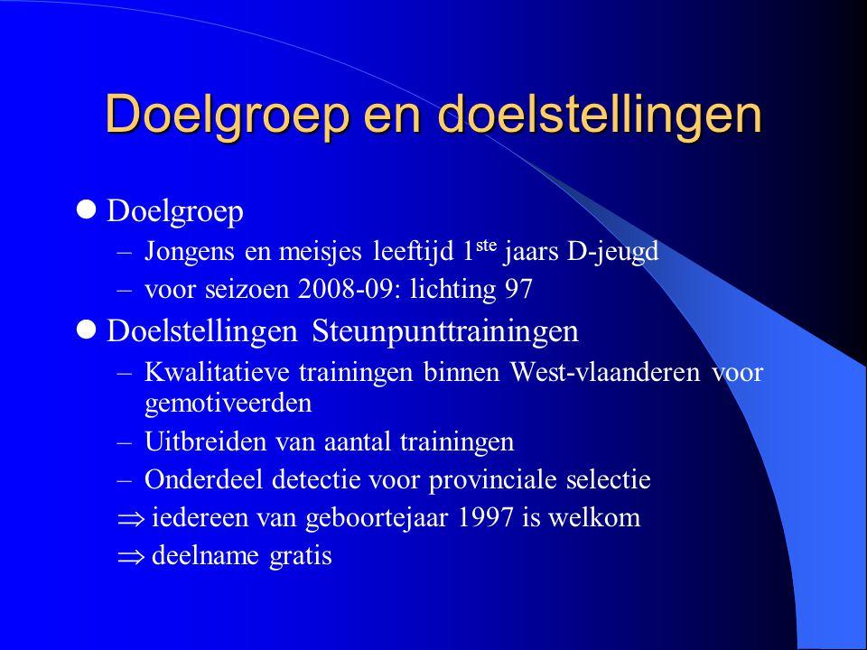 Doelgroep en doelstellingen  Doelgroep –Jongens en meisjes leeftijd 1 ste jaars D-jeugd –voor seizoen 2008-09: lichting 97  Doelstellingen Steunpunt