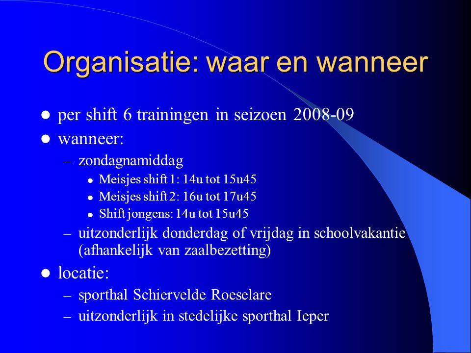 Organisatie: waar en wanneer  per shift 6 trainingen in seizoen 2008-09  wanneer: – zondagnamiddag  Meisjes shift 1: 14u tot 15u45  Meisjes shift