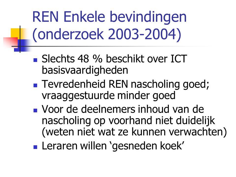 REN Enkele bevindingen (onderzoek 2003-2004)  Slechts 48 % beschikt over ICT basisvaardigheden  Tevredenheid REN nascholing goed; vraaggestuurde min