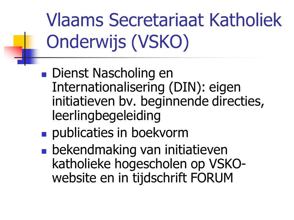 Vlaams Secretariaat Katholiek Onderwijs (VSKO)  Dienst Nascholing en Internationalisering (DIN): eigen initiatieven bv. beginnende directies, leerlin