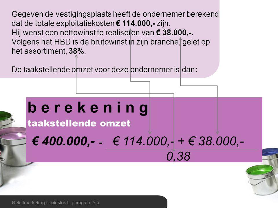 Gegeven de vestigingsplaats heeft de ondernemer berekend dat de totale exploitatiekosten € 114.000,- zijn.