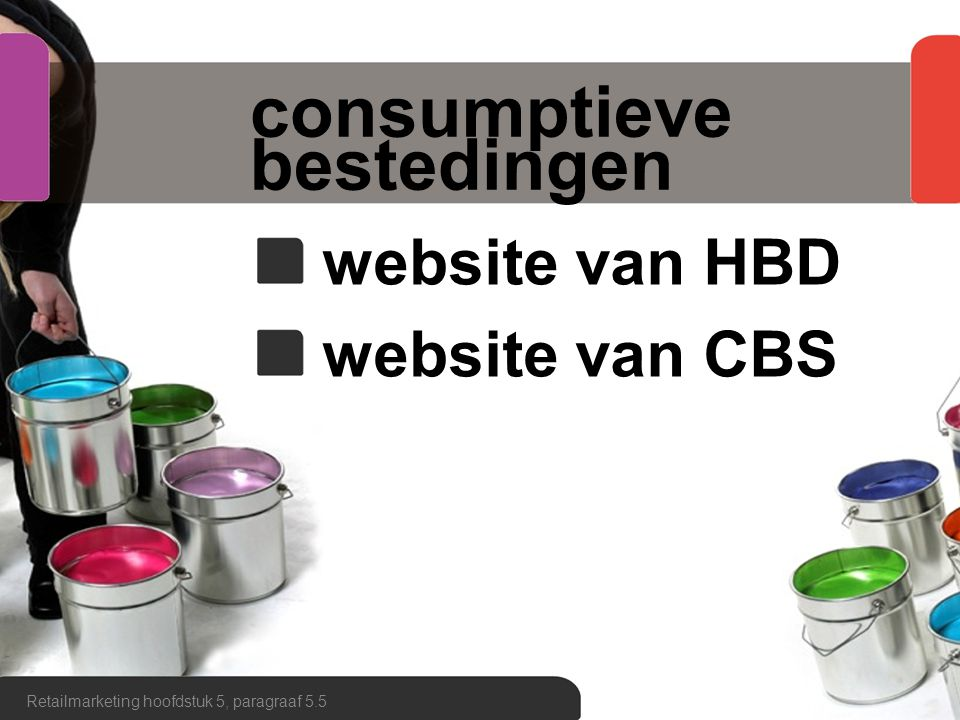 consumptieve bestedingen website van HBD website van CBS Retailmarketing hoofdstuk 5, paragraaf 5.5