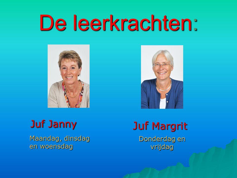 De leerkrachten: Juf Janny Juf Janny Juf Margrit Maandag, dinsdag en woensdag Donderdag en vrijdag
