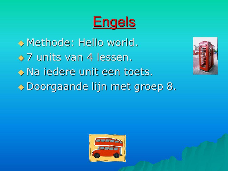 Engels  Methode: Hello world.  7 units van 4 lessen.  Na iedere unit een toets.  Doorgaande lijn met groep 8.