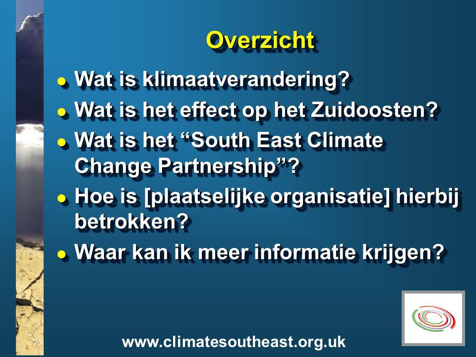 www.climatesoutheast.org.uk Wat is klimaatverandering.