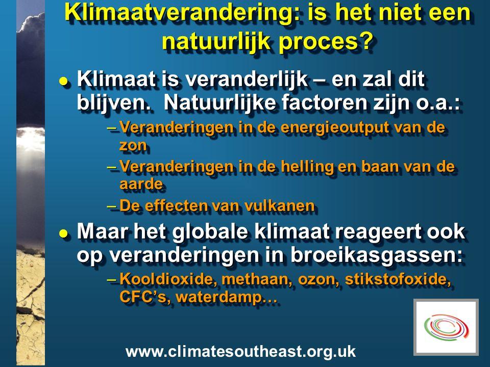 www.climatesoutheast.org.uk Klimaatverandering: is het niet een natuurlijk proces.