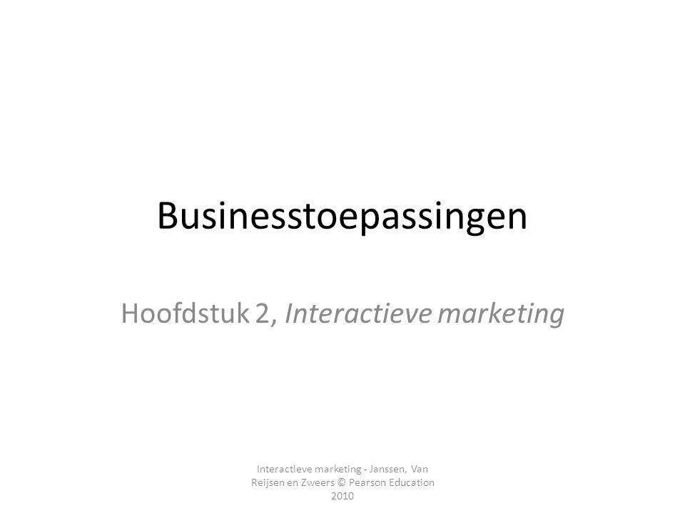 Interactieve marketing - Janssen, Van Reijsen en Zweers © Pearson Education 2010 Businesstoepassingen Hoofdstuk 2, Interactieve marketing