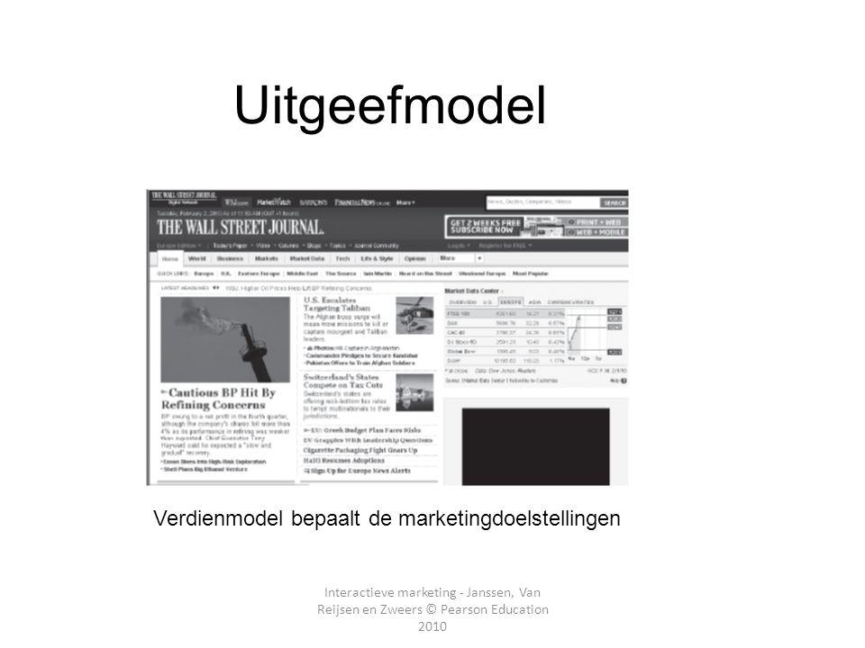 Interactieve marketing - Janssen, Van Reijsen en Zweers © Pearson Education 2010 E- Uitgeefmodel Hoofdstuk 2 Verdienmodel bepaalt de marketingdoelstel
