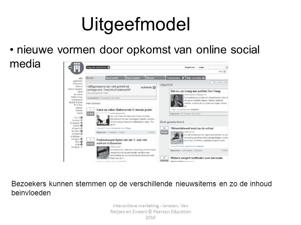 Interactieve marketing - Janssen, Van Reijsen en Zweers © Pearson Education 2010 • nieuwe vormen door opkomst van online social media E- Uitgeefmodel Hoofdstuk 2 Bezoekers kunnen stemmen op de verschillende nieuwsitems en zo de inhoud beinvloeden