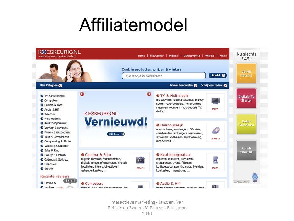 Interactieve marketing - Janssen, Van Reijsen en Zweers © Pearson Education 2010 E- Affiliatemodel Hoofdstuk 2