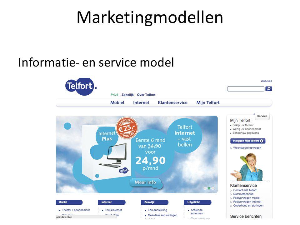Interactieve marketing - Janssen, Van Reijsen en Zweers © Pearson Education 2010 Marketingmodellen Informatie- en service model