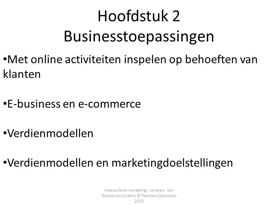 Interactieve marketing - Janssen, Van Reijsen en Zweers © Pearson Education 2010 Hoofdstuk 2 Businesstoepassingen • Met online activiteiten inspelen o