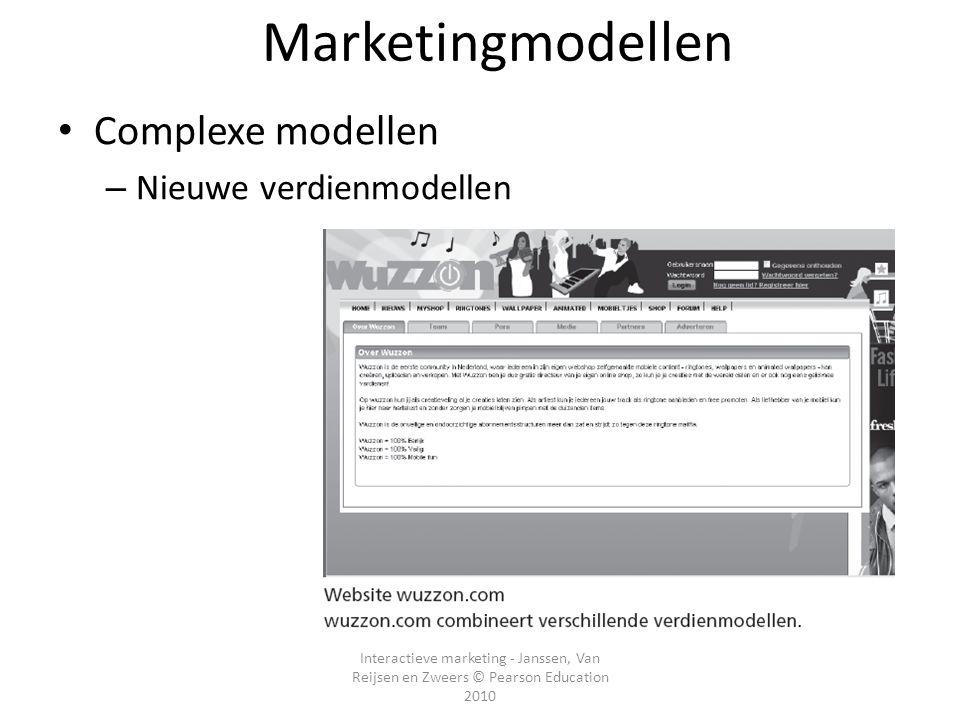 Interactieve marketing - Janssen, Van Reijsen en Zweers © Pearson Education 2010 Marketingmodellen • Complexe modellen – Nieuwe verdienmodellen