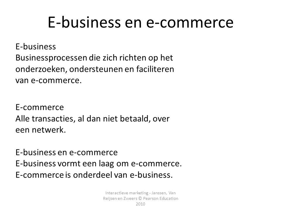 Interactieve marketing - Janssen, Van Reijsen en Zweers © Pearson Education 2010 E-business Businessprocessen die zich richten op het onderzoeken, ondersteunen en faciliteren van e-commerce.