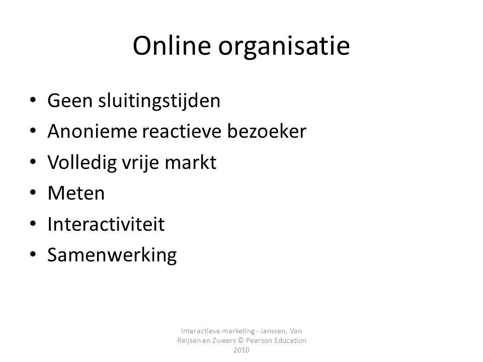 Interactieve marketing - Janssen, Van Reijsen en Zweers © Pearson Education 2010 Online organisatie • Geen sluitingstijden • Anonieme reactieve bezoek