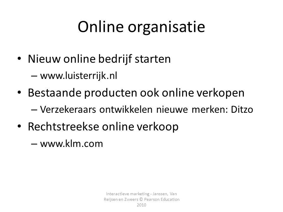 Interactieve marketing - Janssen, Van Reijsen en Zweers © Pearson Education 2010 Online organisatie • Nieuw online bedrijf starten – www.luisterrijk.n