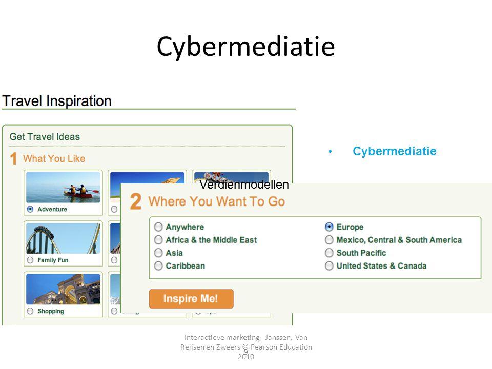 Interactieve marketing - Janssen, Van Reijsen en Zweers © Pearson Education 2010 9 Cybermediatie Tussenpersonen •Cybermediatie Verdienmodellen