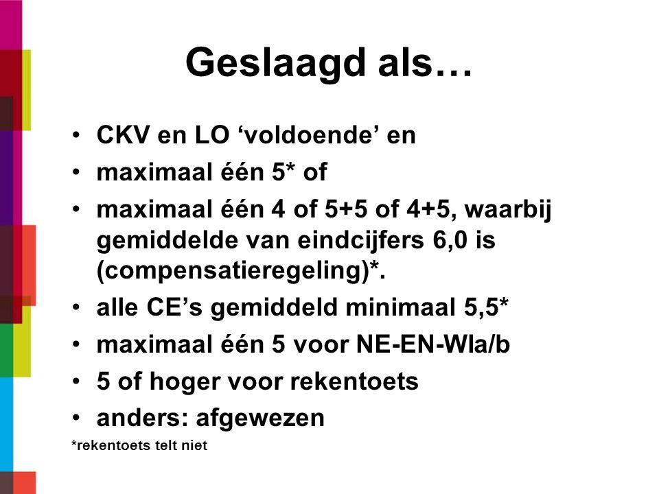 Geslaagd als… •CKV en LO 'voldoende' en •maximaal één 5* of •maximaal één 4 of 5+5 of 4+5, waarbij gemiddelde van eindcijfers 6,0 is (compensatieregeling)*.