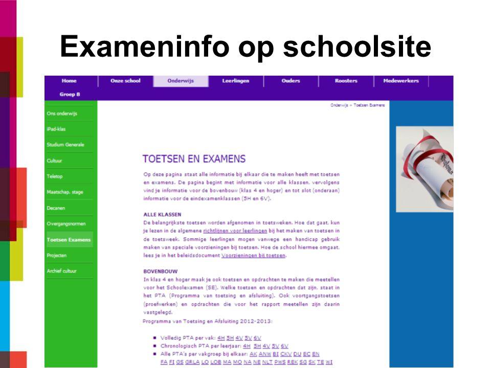Exameninfo op schoolsite